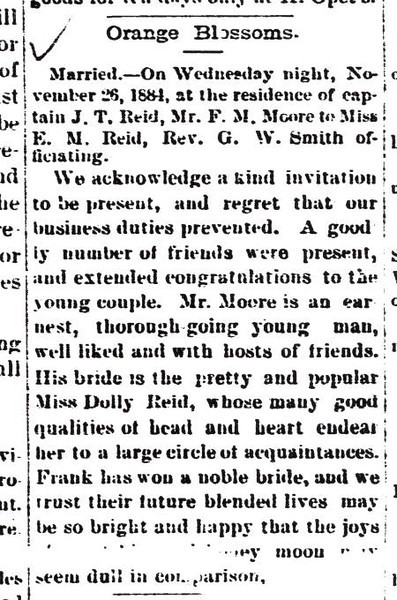 1884 article - Marriage of Ellender Reid to Frank Morgan Moore -Gonzales Inquirer, November 29, 1884.jpg