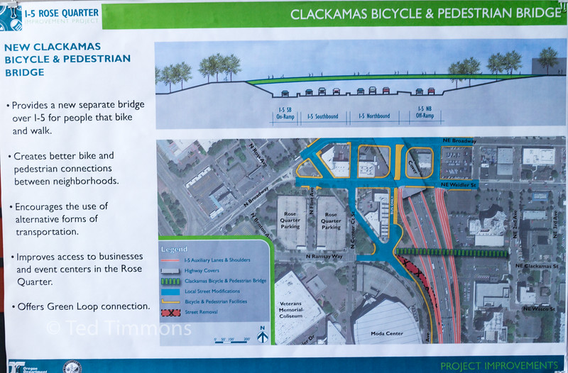 Poster showing the Clackamas/Ramsay Way bridge crossing. Note the side profile showing 9 lanes.