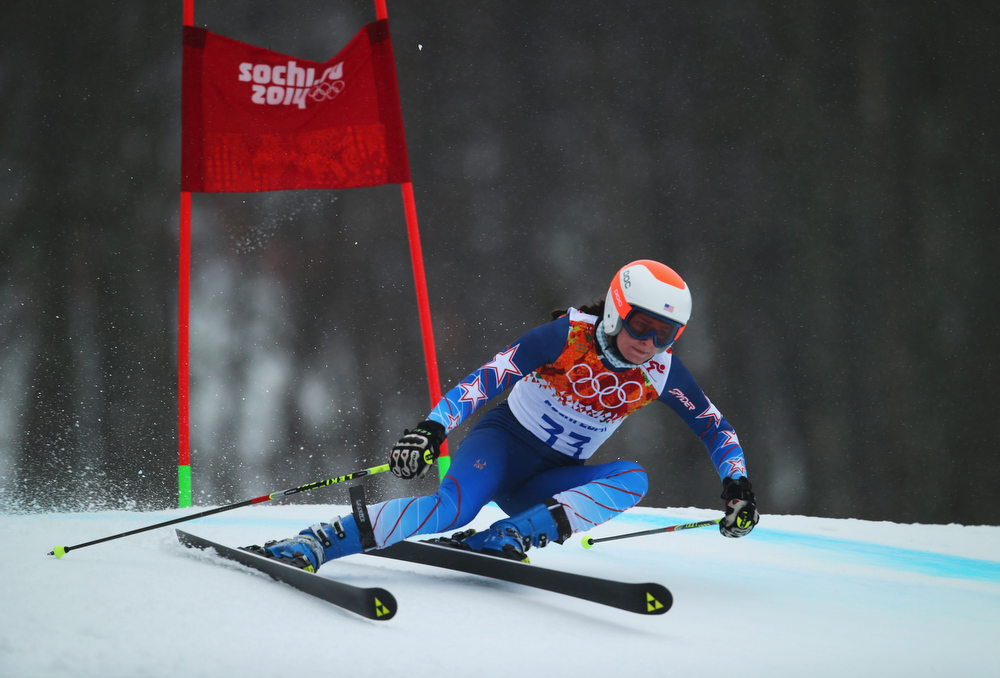 Description of . Megan McJames of the United States makes a run during the Alpine Skiing Women's Giant Slalom on day 11 of the Sochi 2014 Winter Olympics at Rosa Khutor Alpine Center on February 18, 2014 in Sochi, Russia.  (Photo by Clive Rose/Getty Images)