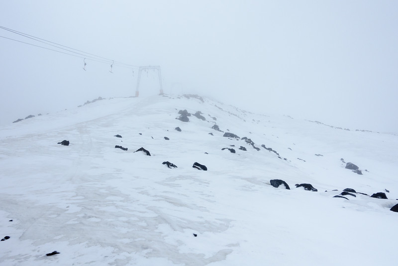 Day 2 - Optimal Snow Conditions. Whiteout and skiing on wind-scoured snow.