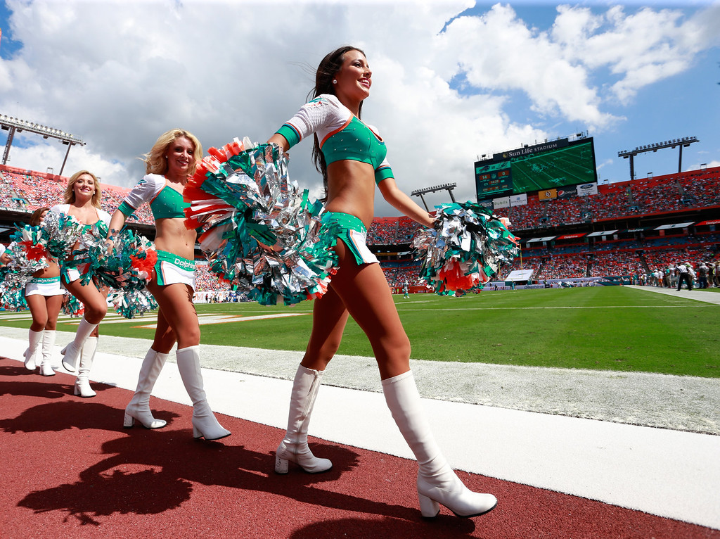 . Miami Dolphins cheerleaders perform during the game against the Buffalo Bills at Sun Life Stadium on October 20, 2013 in Miami Gardens, Florida.  (Photo by Chris Trotman/Getty Images)