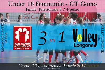 CO-u16f Finale 3 Posto: Sanpaolo Cantù - Volley Longone