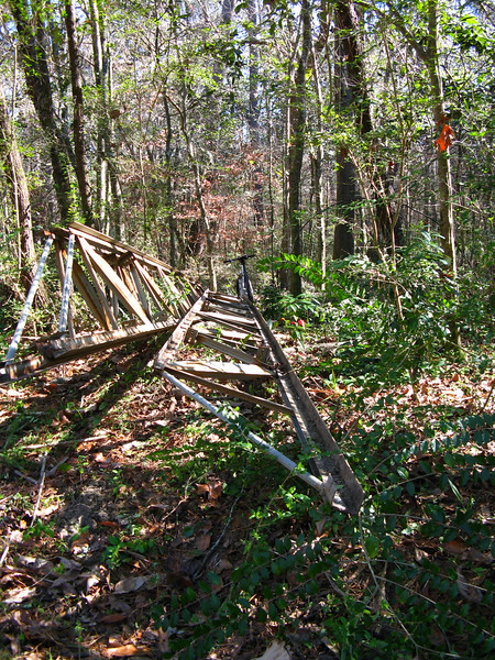 22Jan09 3 ~35ft steel trusses. Looking ~SE toward the creek.