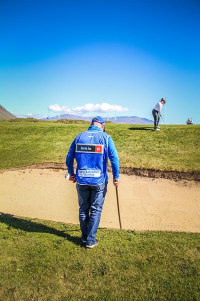 Særós Eva Óskarsdóttir, GR, við 9. flöt á Garðavelli.  Mynd/seth@golf.is