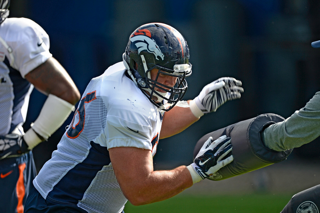 . Denver Broncos defensive tackle Mitch Unrein (96) runs through drills on day 12 of the Denver Broncos 2014 training camp August 5, 2014 at Dove Valley. (Photo by John Leyba/The Denver Post)