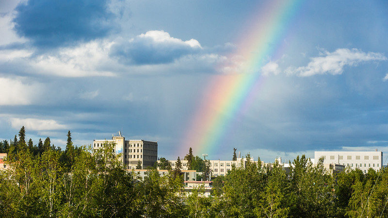 A rainbow appears over the Fairbanks campus during an evening shower at the start of the Fourth of July weekend. UAF photo by JR Ancheta.