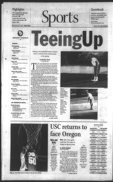 Daily Trojan, Vol. 142, No. 11, January 25, 2001