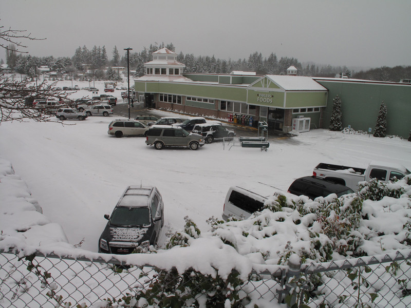 Our grocery store. Day 2. First snow of 2012. Freeland, Whidbey Island. January 18, 2012