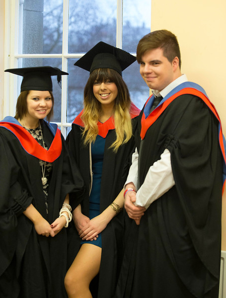 Pictured are Natalie Barron, New Ross, Co wexford, Christina Dalton, Kilkenny, Robert Hynes, Wexford who graduated Higher Certificate in Arts in Legal Studies. Picture: Patrick Browne.
