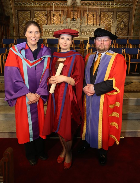 Pictured is Magdalena Necpalova of Slovakia and Piltown, Kilkenny who was conferred a Doctor of Philosophy, also pictured is Imelda Casey supervisor and Dr. Derek O'Byrne, Registrar of WIT. Picture: Patrick Browne.