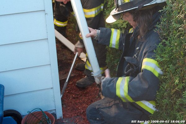 Mulch Fire w/extension into structure, Hazleton, 9/2/08
