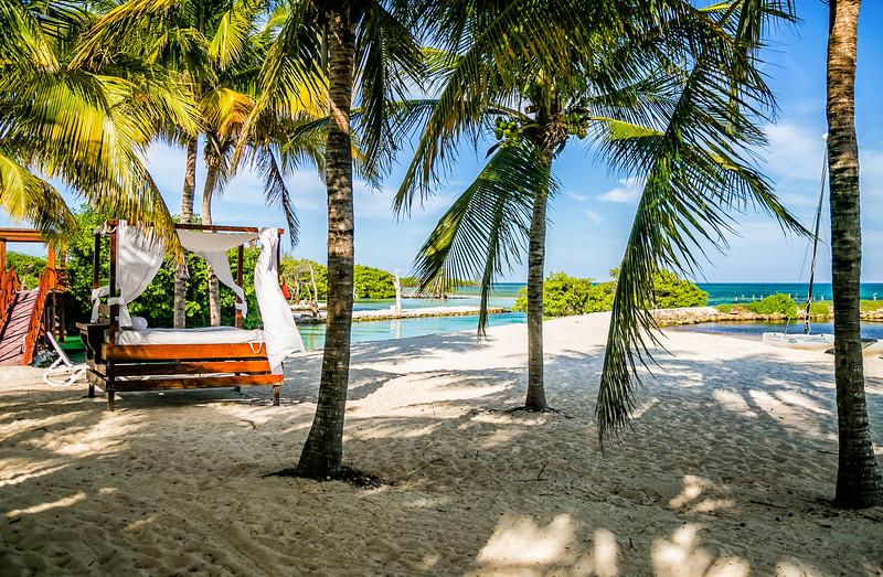 Beach cabanas in Mexico
