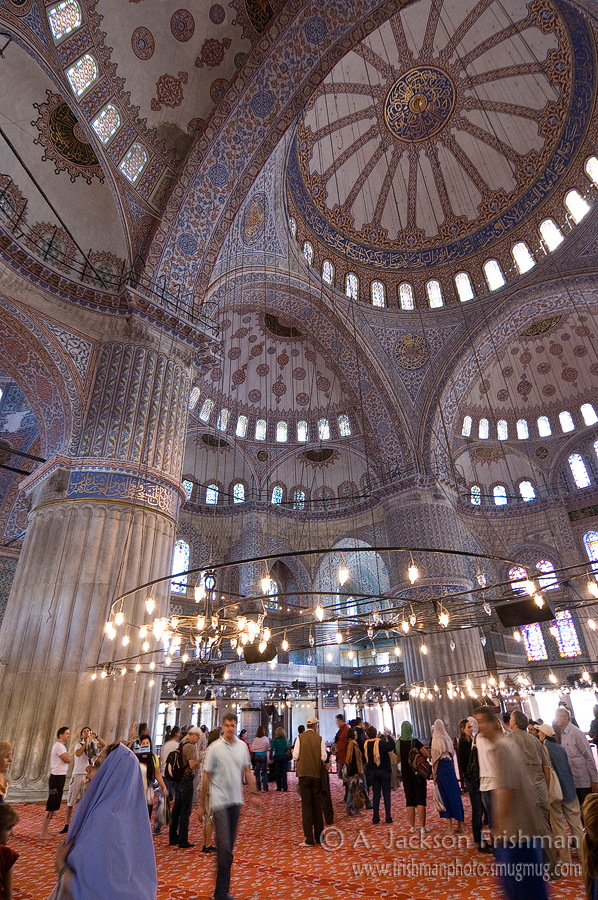Inside Istanbul's Blue Mosque.
