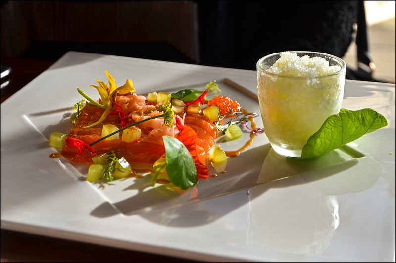 Cured salmon with miso dressing, pickled cucumber granita, salmon caviar
