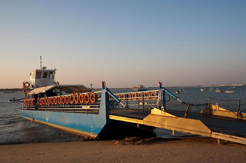Barge for crossing the Guadalquivir river. Bajo de Guia beach, town of Sanlucar de Barrameda, province of Cadiz, Andalusia, Spain.