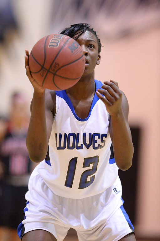 . AURORA, CO. JANUARY 08: Michaela Onyenwere of Grandview High School (12) takes aim during the 2nd half of the game against Eaglecrest High School at Grandview High School in Aurora, Colorado January 8, 2014. Grandview won 69-22. (Photo by Hyoung Chang/The Denver Post)
