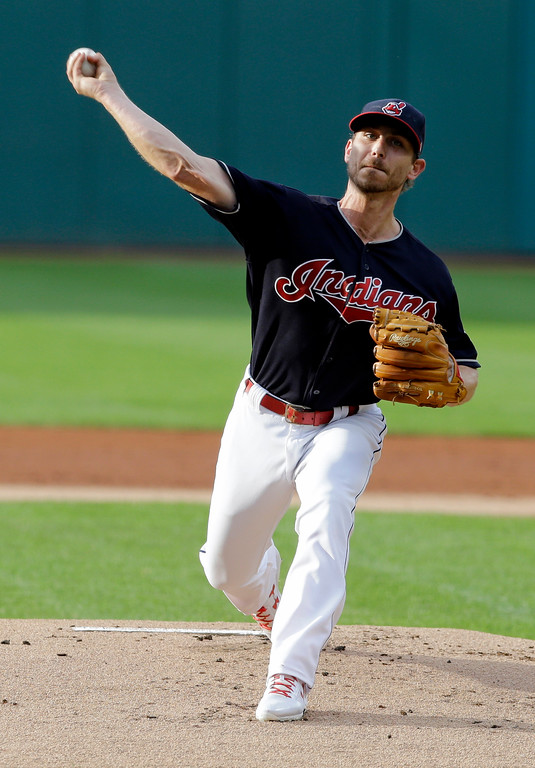 . Cleveland Indians starting pitcher Josh Tomlin delivers in the first inning of a baseball game against the San Diego Padres, Thursday, July 6, 2017, in Cleveland. (AP Photo/Tony Dejak)