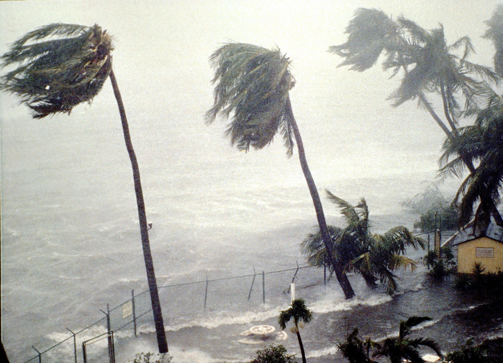 . Hurricane Hugo slams into the eastern coast September 19, 1989 in San Juan, Puerto Rico. Wind gusts of 140 mph and heavy rains ripped through the U.S. Virgin Islands and Puerto Rico, before striking land again in South Carolina on September 22.  (Photo by Gary Williams/Getty Images)