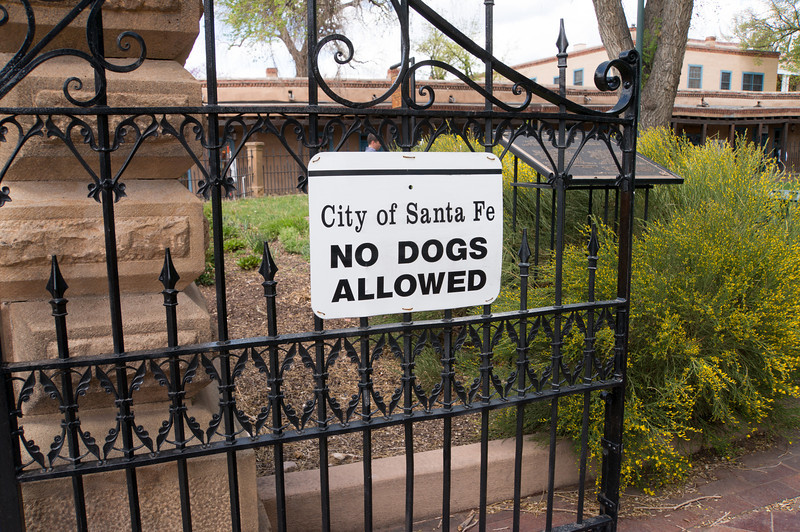 Downtown Santa Fe is not very dog friendly