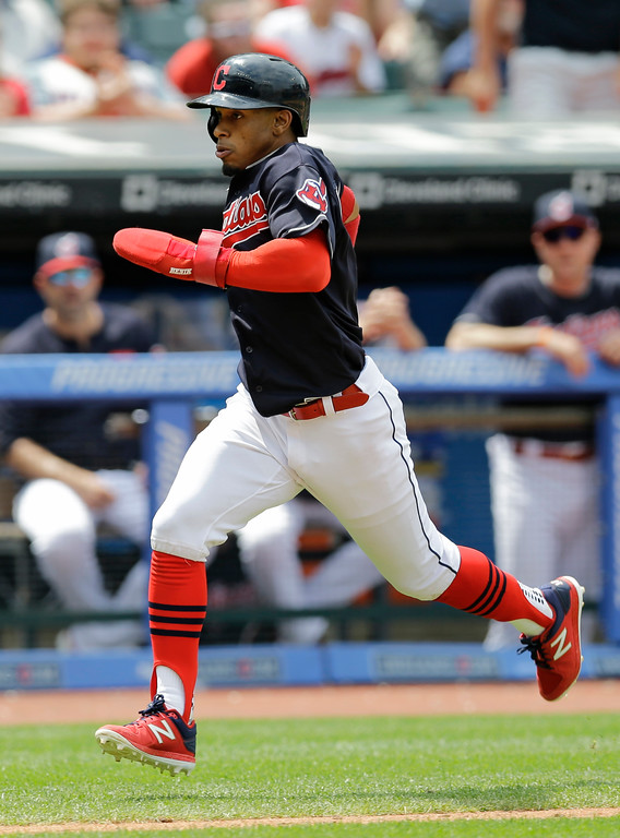 . Cleveland Indians\' Francisco Lindor runs toward home on a double by Michael Brantley in the fifth inning of a baseball game against the Tampa Bay Rays, Wednesday, May 17, 2017, in Cleveland. (AP Photo/Tony Dejak)