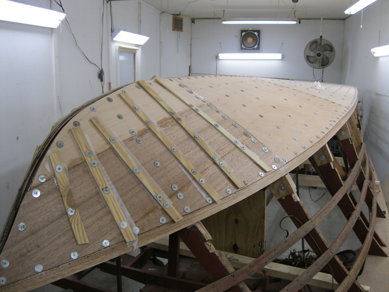 Starboard front view of third layer of bottom installed.