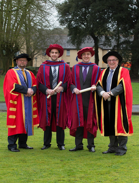 Pictured is Dr. Derek O'Byrne, Registrar of WIT, Raymond Carroll, Kilkenny, Leigh Griffin Waterford,  who were conferred a Doctor of Philosophy, Dr Donie Ormonde, WIT Chairman. Picture: Patrick Browne.