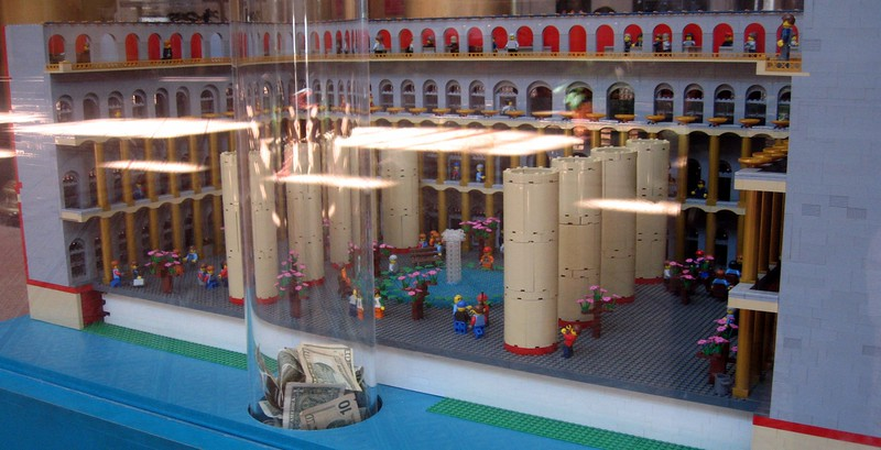 LEGO model of the National Building Museum with a donation jar, by Adam Reed Tucker, at the National Building Museum (4/24/11)