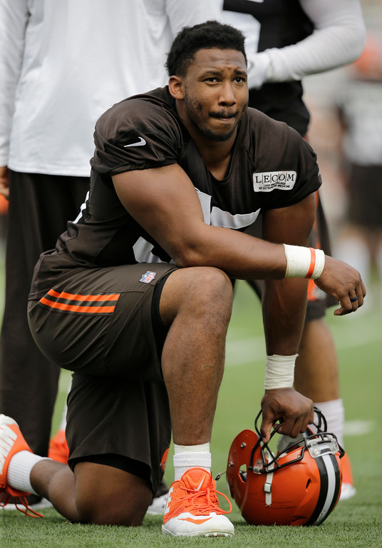 . Cleveland Browns defensive end Myles Garrett watches during practice at the NFL football team\'s training camp facility, Thursday, July 27, 2017, in Berea, Ohio. (AP Photo/Tony Dejak)