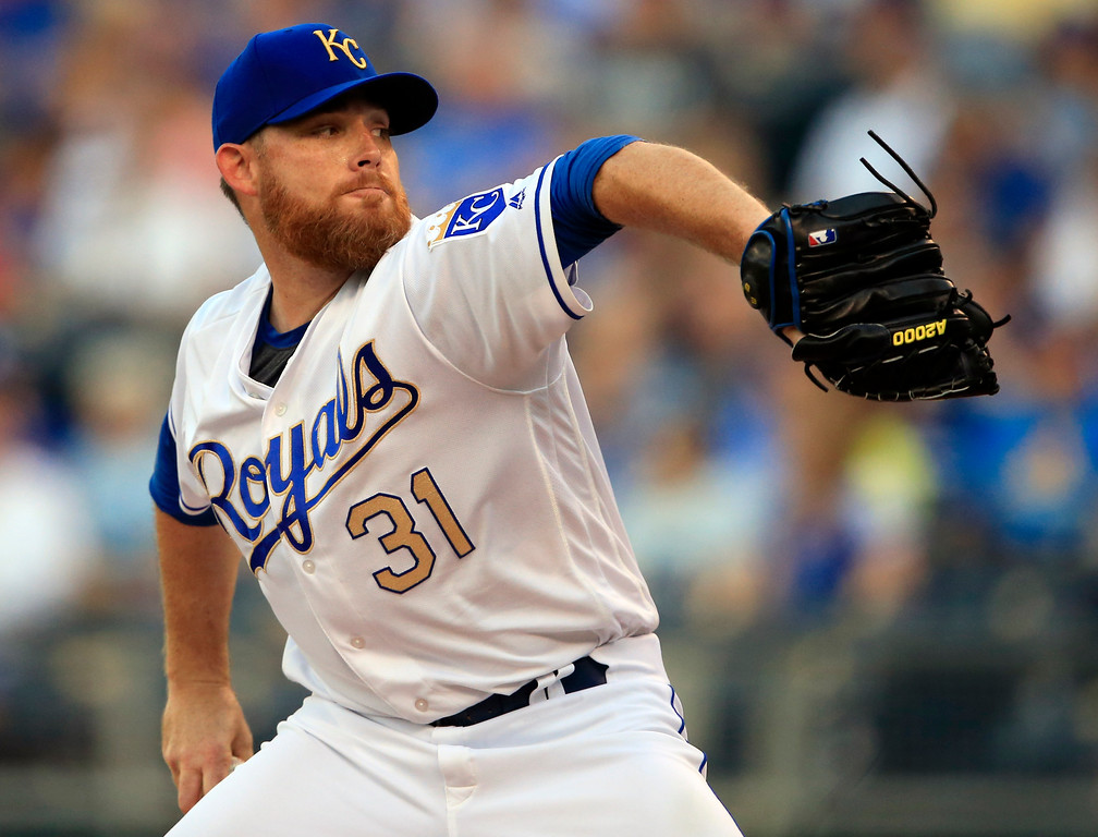 . Kansas City Royals starting pitcher Ian Kennedy delivers to a Cleveland Indians batter during the first inning of a baseball game at Kauffman Stadium in Kansas City, Mo., Friday, Aug. 18, 2017. (AP Photo/Orlin Wagner)