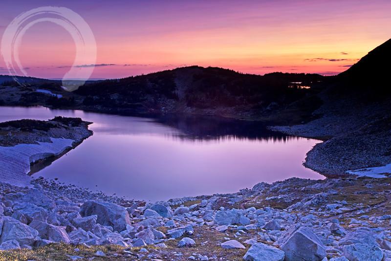 Snowy Range sunrise, overlooking North Gap Lake