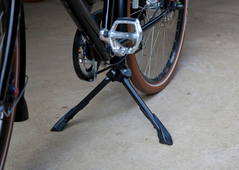 Ursus Jumbo Double Kickstand mounted and deployed on the Pedego City Commuter.