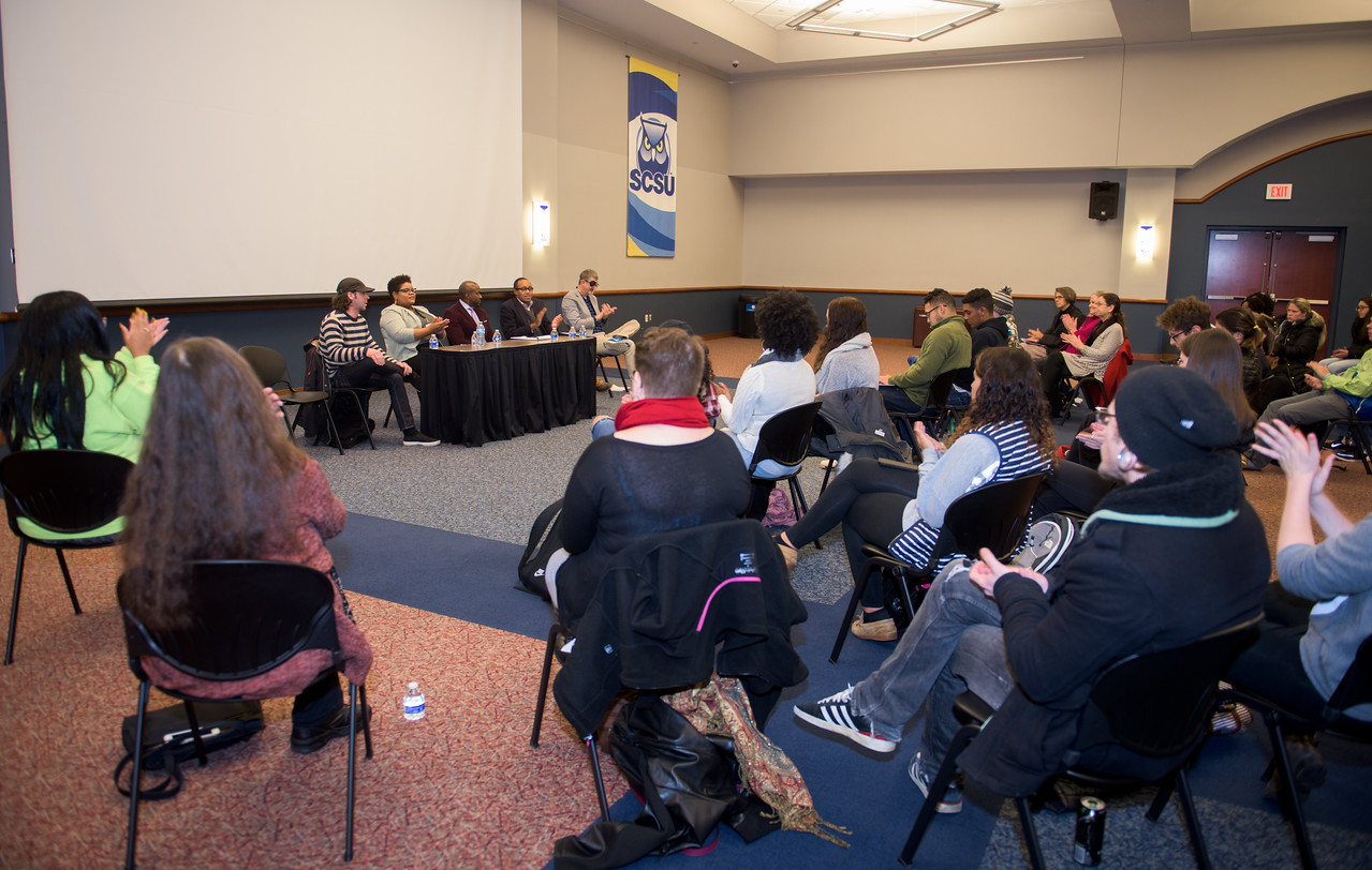 Discussion with a group panel