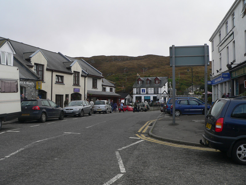 The main drag in Mallaig, looking from outside the train station.