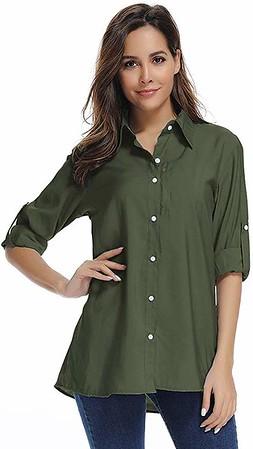 Women's Quick-Dry Sun Protection Convertible Roll-Up Sleeve - Best Women's Safari Shirt