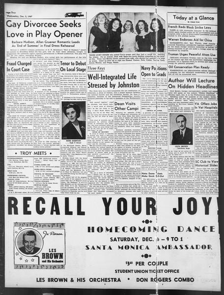 Daily Trojan, Vol. 39, No. 55, December 03, 1947
