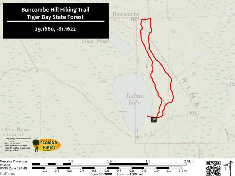 Buncombe Hill Hiking Trail Map
