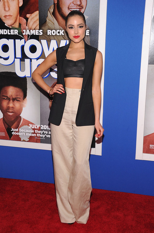 """. Miss Universe 2012 Olivia Culpo attends the \""""Grown Ups 2\"""" New York Premiere at AMC Lincoln Square Theater on July 10, 2013 in New York City.  (Photo by Jamie McCarthy/Getty Images)"""