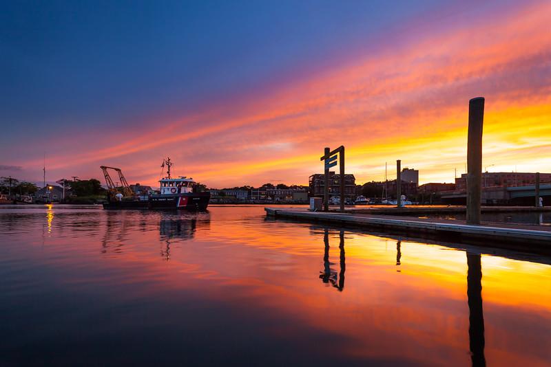Norwalk Harbor at sunset.