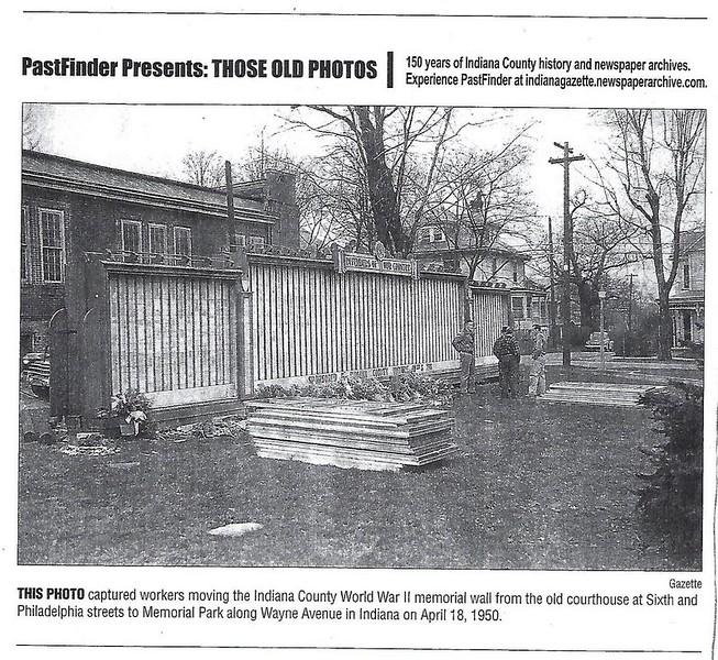 Indiana County Veteran's Wall - 1950