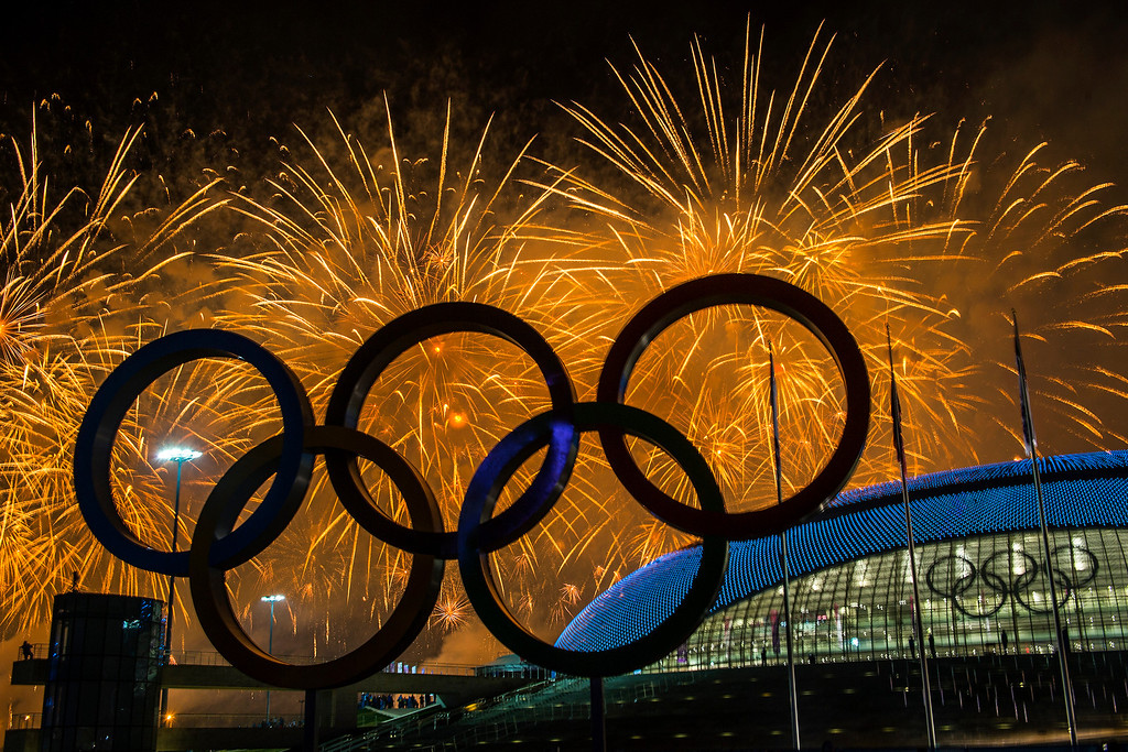 . Fireworks explode during the Closing Ceremony of the 2014 Sochi Olympics outside of the Bolshoy Ice Dome Sunday February 23, 2014.  (Photo by Chris Detrick/The Salt Lake Tribune)