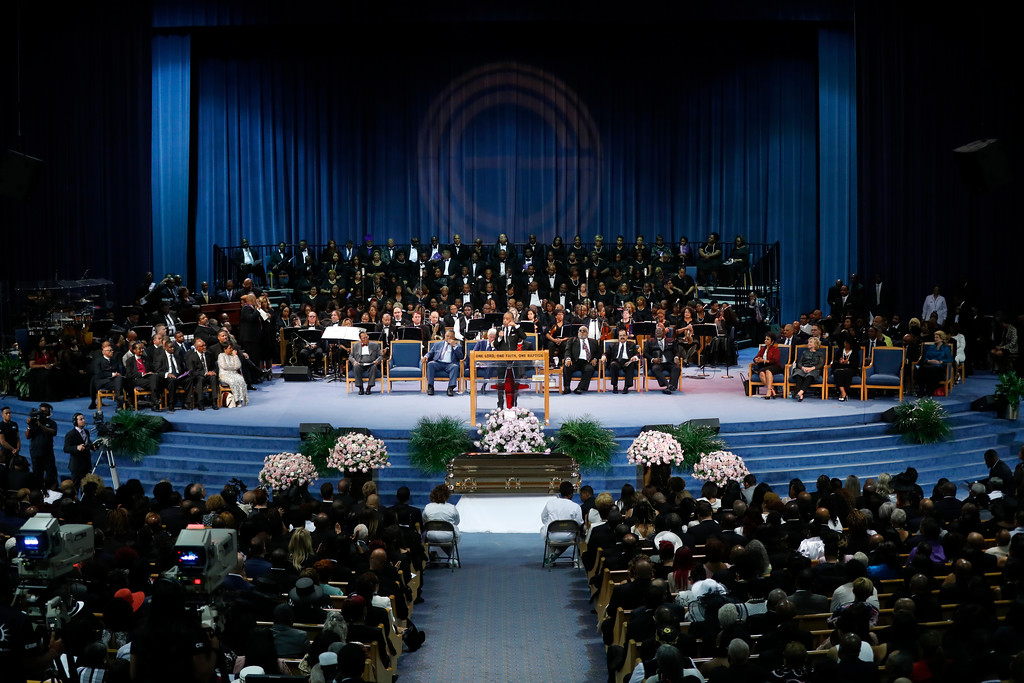 . Rev. Al Sharpton speaks during the funeral service for Aretha Franklin at Greater Grace Temple, Friday, Aug. 31, 2018, in Detroit. Franklin died Aug. 16, 2018 of pancreatic cancer at the age of 76. (AP Photo/Paul Sancya)