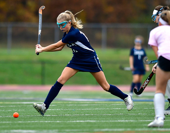 11/2/2018 Mike Orazzi | Staff Wethersfield's Molly Bowers (12) during field hockey at Southington High School Friday.