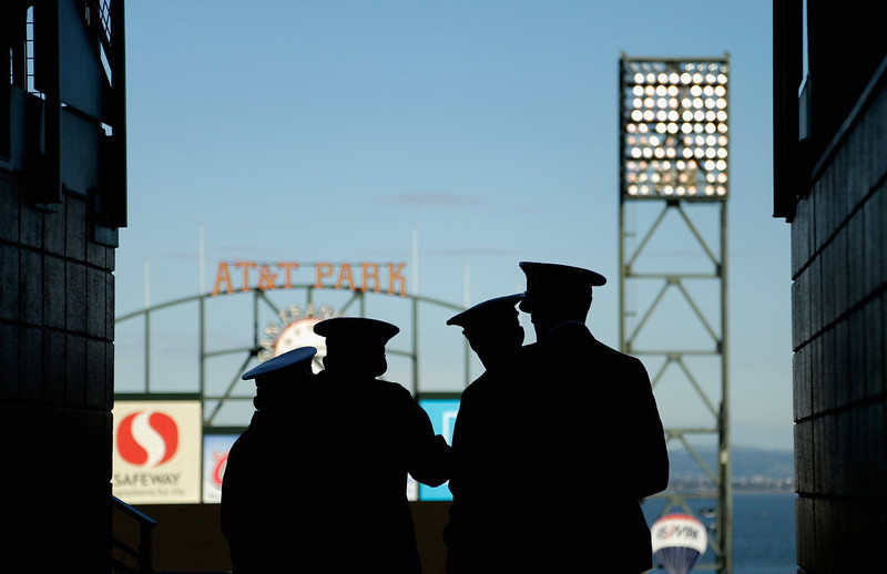 . Members of the US Navy stand in the upper deck and watch the Kraft Fight Hunger Bowl between the Navy Midshipmen and the Arizona State Sun Devils at AT&T Park on December 29, 2012 in San Francisco, California.  (Photo by Ezra Shaw/Getty Images)