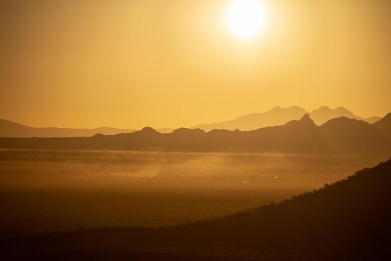 Warm Desert Sunrise with Mountains