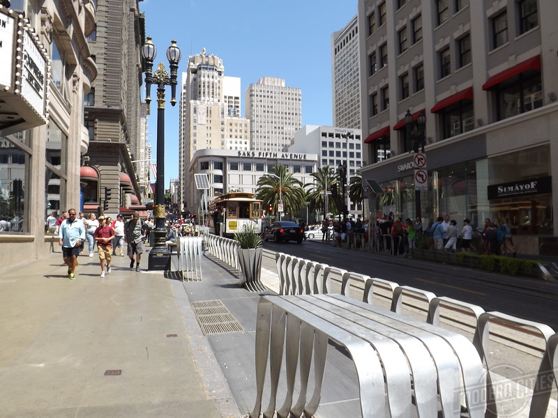 Looking down Powell towards Union Square.