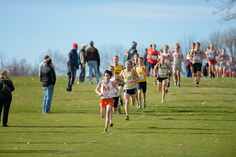 2014 - Macalester Cross Country races at MIAC Conference Meet   -- Copyright Christopher Mitchell / SportShotPhoto.com