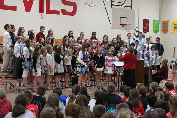 TMS students sing to LT Ball Students