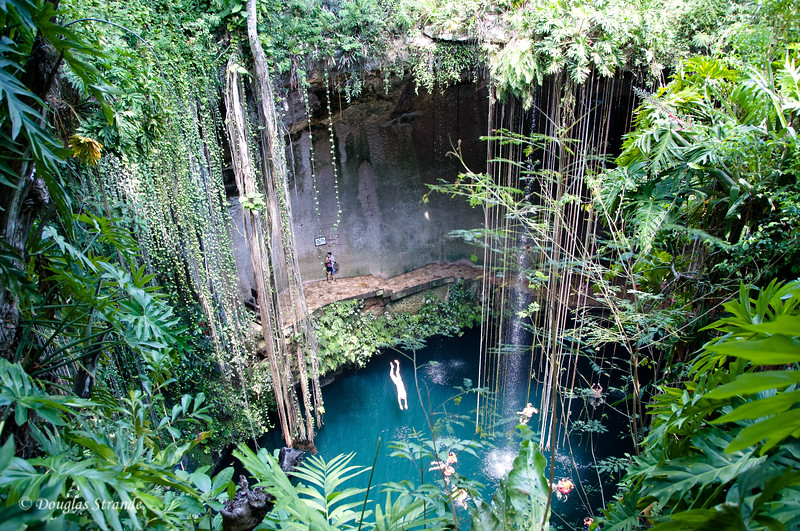 A man dives into the cenote