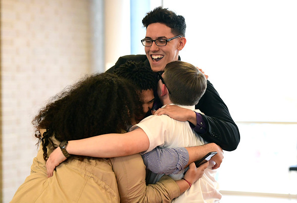 4/4/2019 Mike Orazzi | Staff Bristol Boys & Girls Club Youth of the Year Stanley Cardona gets congratulated after winning this year's award Thursday evening.