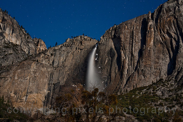 View of Upper Yosemite Falls at night    4/6/12